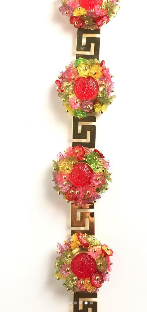 1992 Versace Couture runway large floral belt