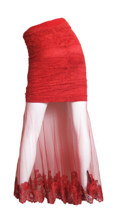 CHRISTIAN DIOR by GALLIANO Red lace skirt sheer hem
