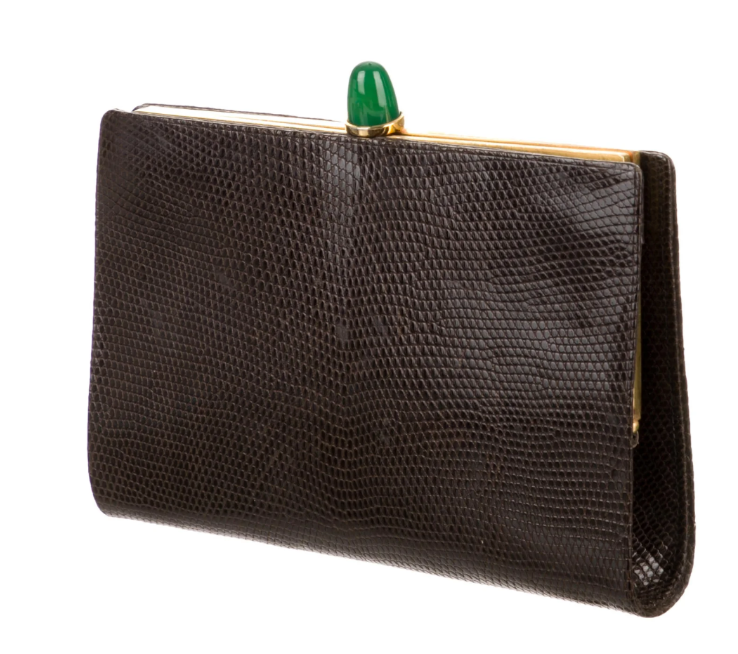 CHRISTIAN DIOR LIZARD CLUTCH W/ JEWEL TOP