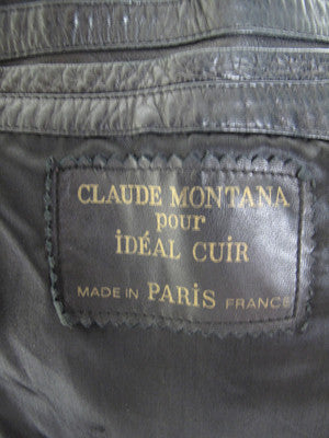 Vintage CLAUDE MONTANA black leather jacket