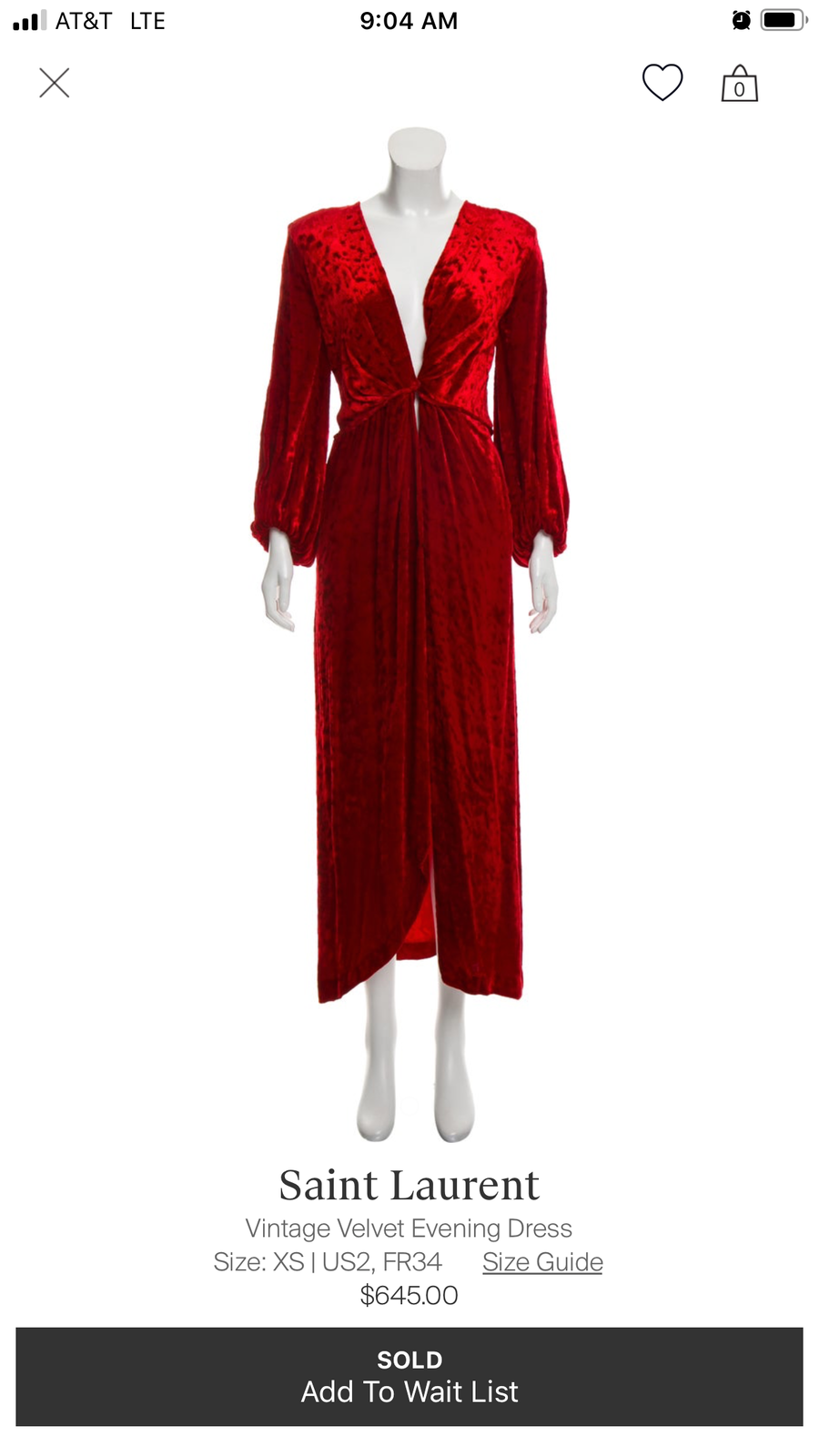 YVES SAINT LAURENT VELVET DRESS