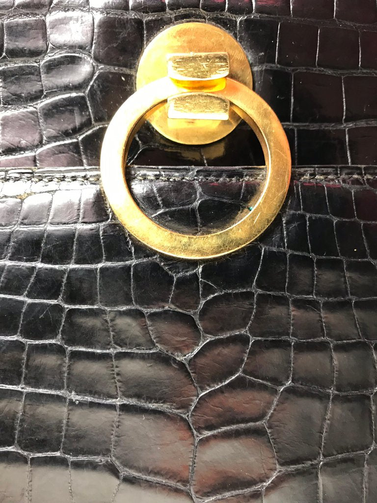 HERMES Black Crocodile Sac Ring bag
