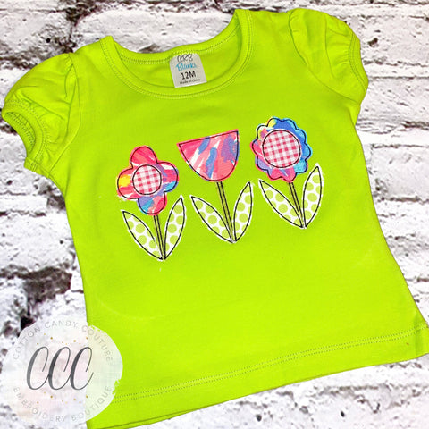 Flower Trio Short Puff Sleeve Shirt - 12m