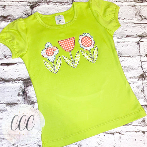 Flower Trio Short Puff Sleeve Shirt - 4T