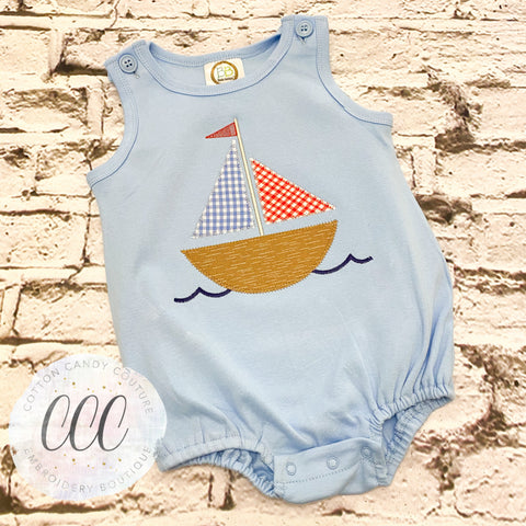 Light Blue Tank Bubble -Sailboat - 2T