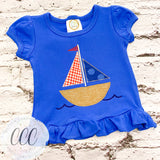 Royal Ruffle Tee - Sailboat - 6m