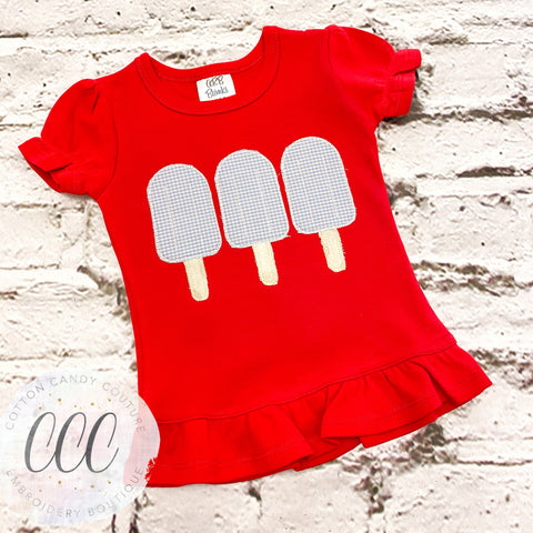 Red Ruffle Tee - Popsicle Trio - 12m