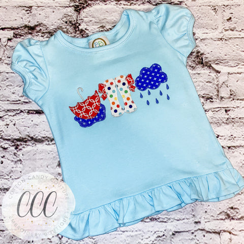 Rainy Day Trio Ruffle Short Sleeve Tee - 12m