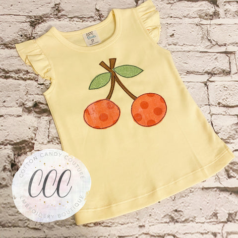 Yellow Flutter Sleeve Tee - Cherries - 2T