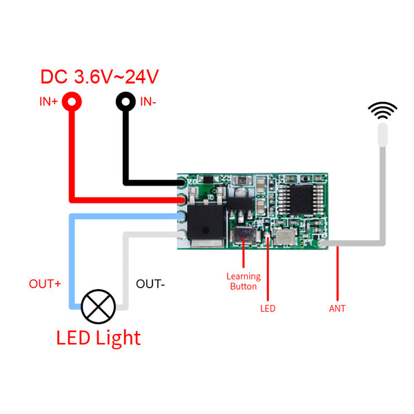QIACHIP Mini Wireless Remote Control Switch 12V 3.7V 5V 24V Micro RF Receiver Small Module Led Lamp Lights switches & 433Mhz Transmitter   QA-R-011&WP8601/KT05-AB