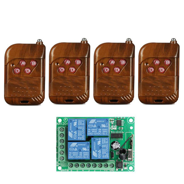 433Mhz Universal Wireless Remote Control Switch DC12V 4CH relay Receiver Module and RF Transmitter 433 Mhz Remote Controls KR1204&KT02/KT01
