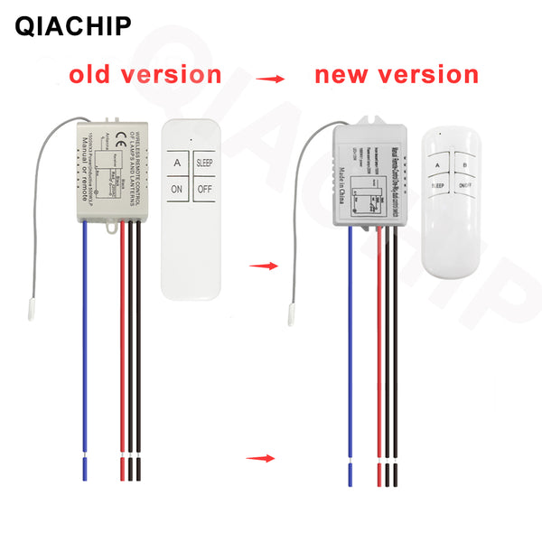 Qiachip FD201/FD202/FD103  1/2/3 Way Relay AC 220V RF Remote Digital Wireless Remote Control Switch Ceiling Fan Panel Control Switch For Light Bulb