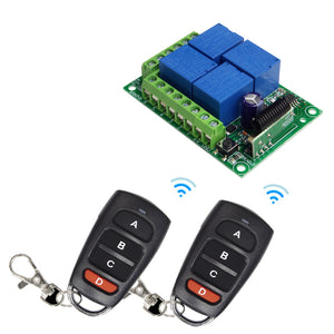 QIACHIP 433Mhz Wireless Remote Control Switch DC 12V 4 CH Relay Receiver Module + RF learning code remote control Transmitter 433Mhz For Garage Door Opener KR1204+2pcs KT16