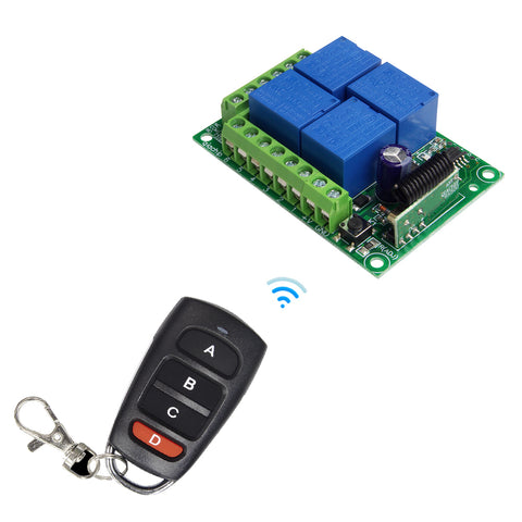 QIACHIP 433Mhz Wireless Remote Control Switch DC 12V 4 CH Relay Receiver Module + RF learning code remote control Transmitter 433Mhz For Garage Door Opener 1204 KR1204+KT16