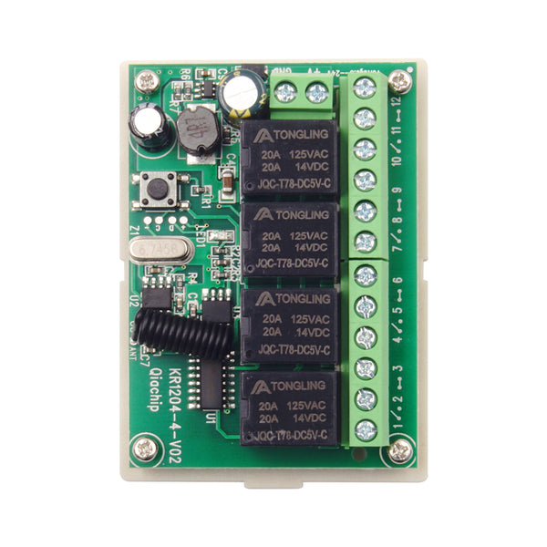 Qiachip KR1204B+2×KT19-4  remote control switch | 12V 4CH | Learning cord remote control | 433Mhz
