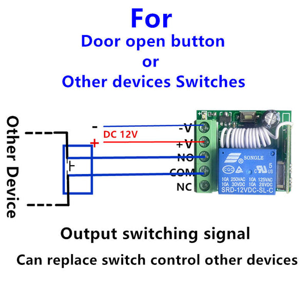 QIACHIP Universal 433MHz Wireless Remote Control Switch DC 12V 1CH Universal Wireless Remote Control Switch Receiver Module and RF 433mhz Transmitter KR1201A&KT05/KT01/KT11