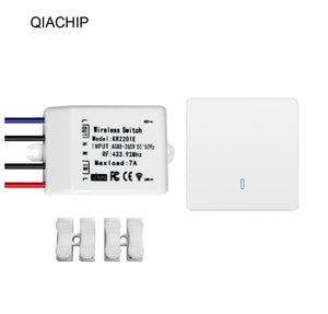 QIACHIP high quality mini Wireless switch universal AC 85-265V 1CH relay Wireless Remote Control Receiver 433.92 MHz KR8601-1w+KR2201E