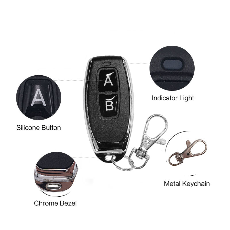 QIACHIP 433Mhz 2 button Metal Remote Control Learning code EV1527 wireless on/off Printing logo transmitter KT05