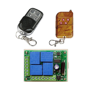QIACHIP 433Mhz Universal Wireless Remote Control Switch DC12V 4CH relay Receiver Module and RF Transmitter 433 Mhz Remote Controls KR1204&KT02/KT01