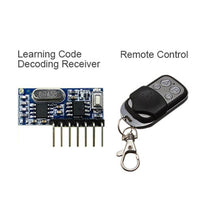 rf 433 mhz transmitter 4 button remote control and receiver circuit module kit fixed ev1527 decoding 4CH output with learning diy RX480-e