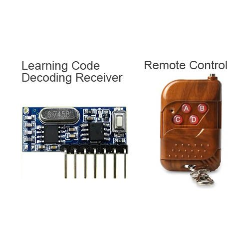 QIACHIP RF 433 mhz transmitter 4 button remote control and receiver circuit module kit fixed ev1527 decoding learning code 4CH output with learning diy RX480E&KT16/KT01/KT02