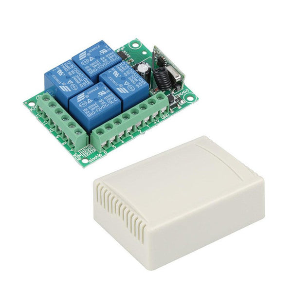 QIACHIP 433Mhz Wireless Remote Control Switch DC 12V 4 CH Relay Receiver Module + RF Transmitter 433 Mhz For Garage Door Opener
