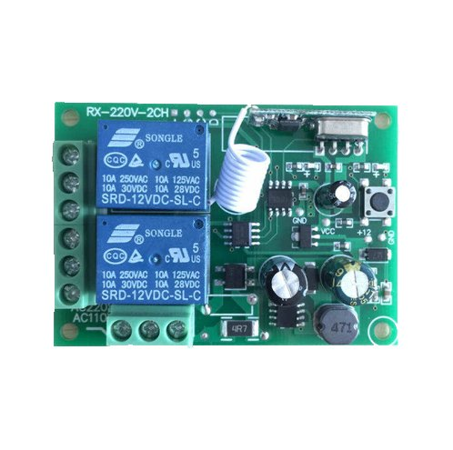 QIACHIP 433MHz DIY Wireless Receiver Remote Control Switch AC 85V ~ 250V 110V 220V 2CH Relay Circuit Receiver Module 433.92 Mhz and RF Remote Controls Switch No Disturb Light Door Control KR2202-4&KT16/KT01