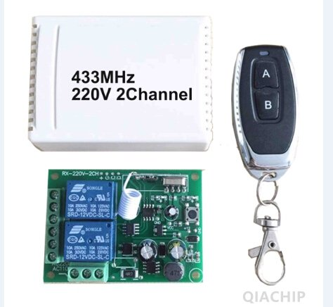 Wireless Remote Control Switch AC 250V 110V 120V 220V 230V 2-Channels Relay Receiver Module and RF 433 Mhz Remote Controls QIACHIP kr2202-4