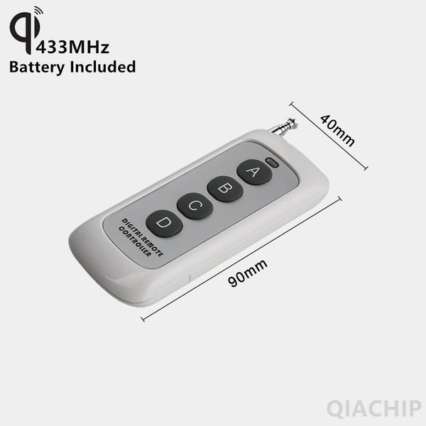 QIACHIP 433MHz 4 Button EV1527 Code Remote Control Switch RF Transmitter Wireless Key for Smart Home Garage Door Opener KT1004