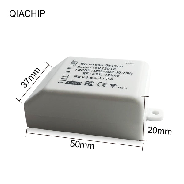 QIACHIP high quality mini Wireless switch universal AC 85-265V 1CH relay Wireless Remote Control Receiver 433.92 MHz KR2201E