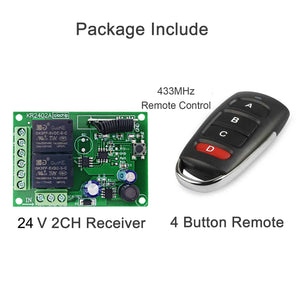 Qiachip DC6-30V 2CHANNEL RECEIVER INSTRUCTION Relay Circuit Receiver Module  433MHz DIY Wireless Receiver Remote Control Switch and RF Remote Controls Switch No Disturb Light Door Control KR2402-4&KT16