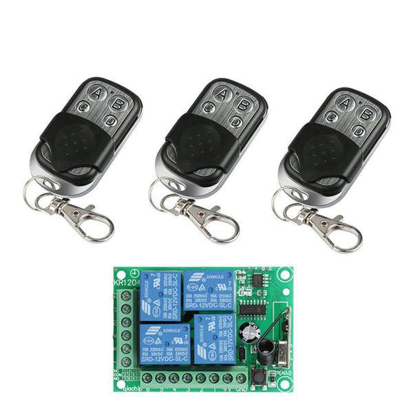 QIACHIP 433Mhz Wireless Remote Control Switch DC 12V 4 CH Relay Receiver Module + RF Transmitter 433 Mhz For Garage Door Opener KR1204&KT01