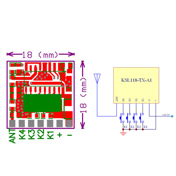 Qiachip TX118SA-4 ASK RF Transmitter Module Remote Control 1527 Encoding For Arduino Module DIY 433MHz