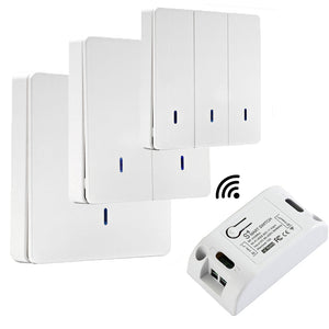 QIACHIP 433 Mhz Wireless RF Wall Panel Transmitter/Best WiFi Smart Light Switches 110V 220V Home Automation Google Home IFTTT  WP8601&KR2201W