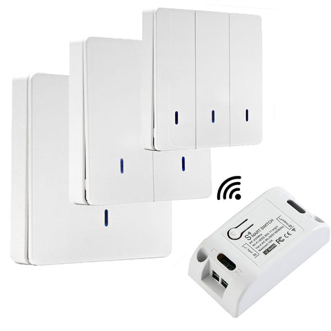 QIACHIP 433 Mhz Wireless RF Wall Panel Transmitter/Best WiFi Smart Light Switches 110V 220V Home Automation Google Home  WP8601&KR2201W