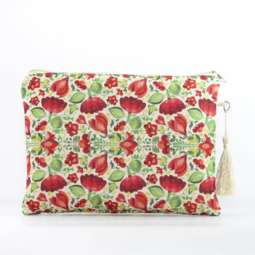 Calico Floral Makeup Pouch in Rose Red - Ellana Cosmetics