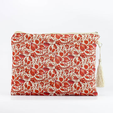 Calico Floral Makeup Pouch in Red Lily - Ellana Cosmetics