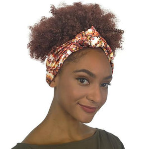 Creative Instant Afro Wig With Printed Headwrap-AW102