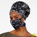 African Print Head Wrap With Satin-Lined-AW1133