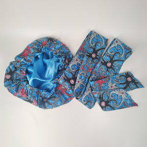 African Print Head Wrap With Satin-Lined-AW1135