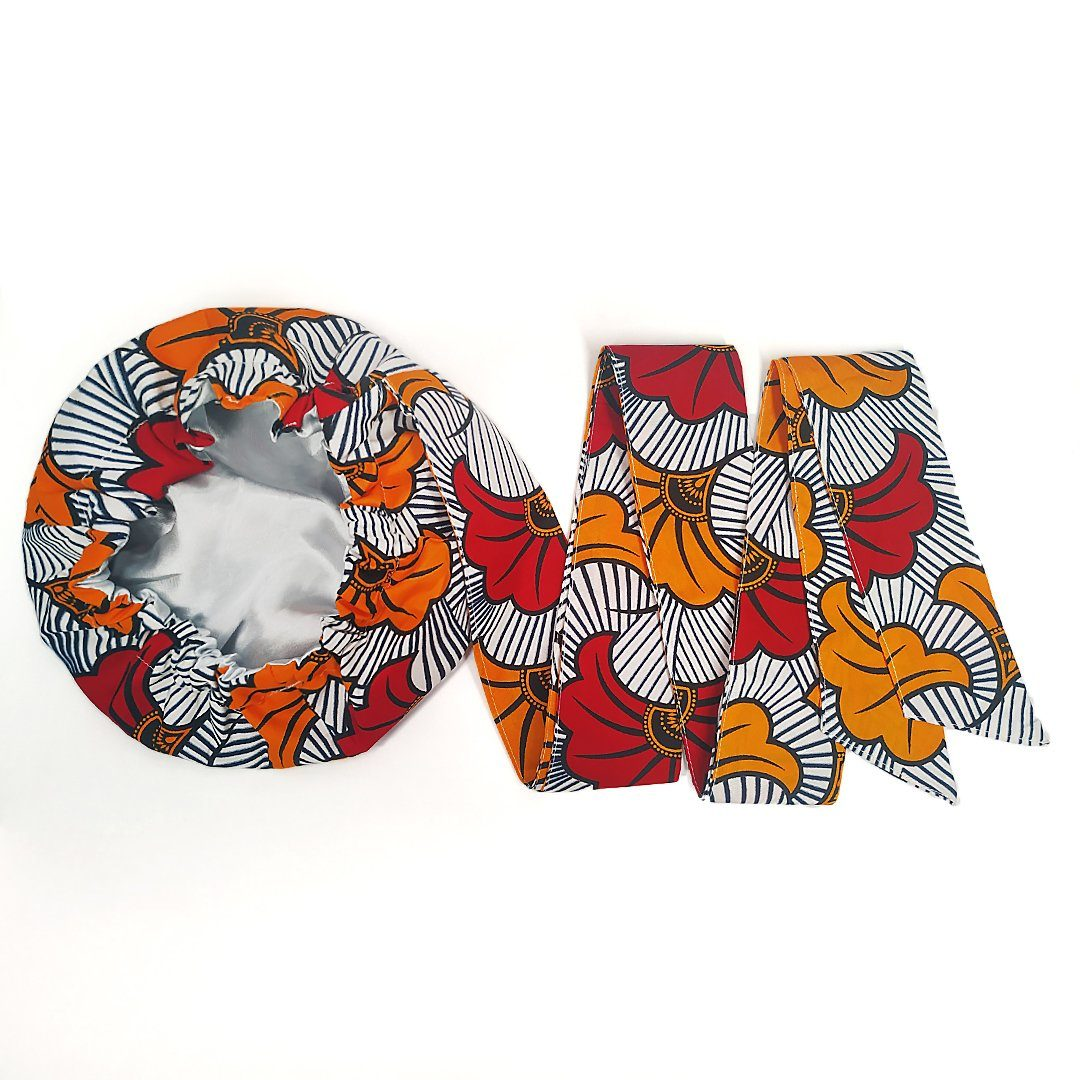 African Print Head Wrap With Satin-Lined(Red Yellow Flowers) -AW1143