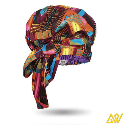 African Print Head Wrap With Satin-Lined-AW1165
