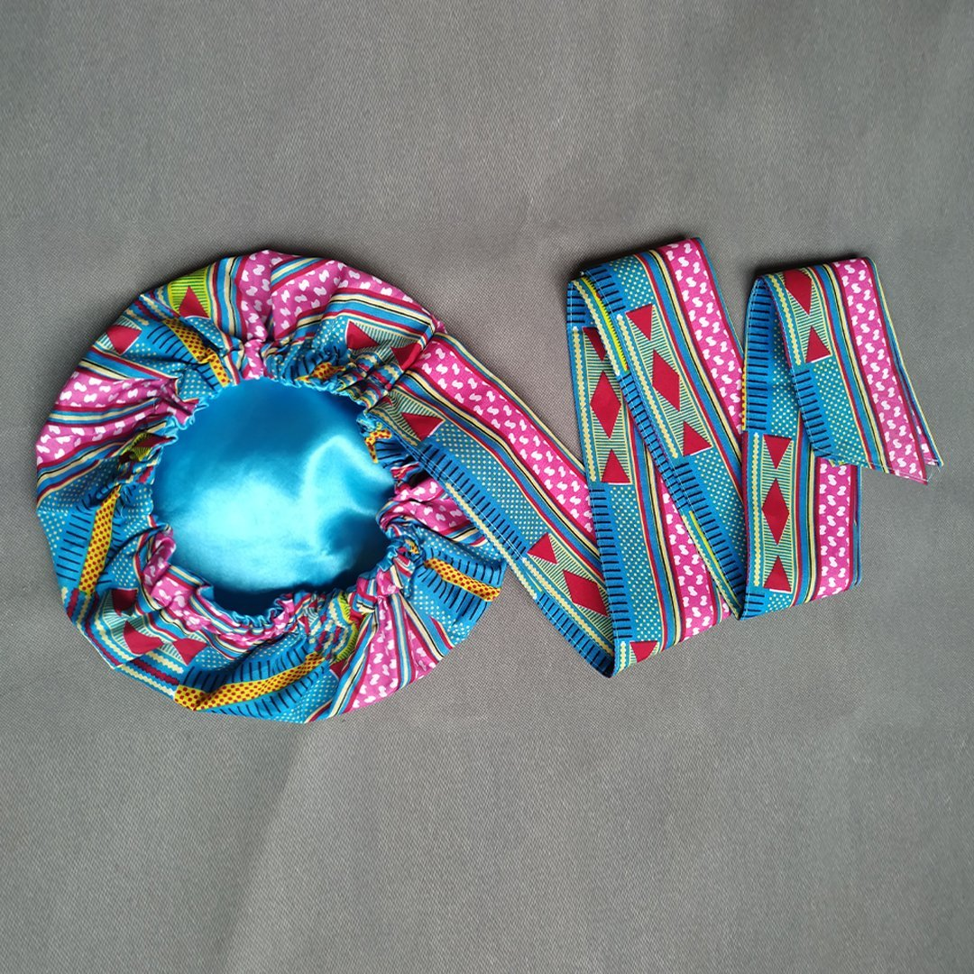 African Print Head Wrap With Satin-Lined-AW1168