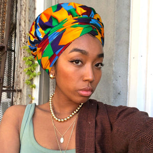 African Print Head Wrap With Satin-Lined-AW1170