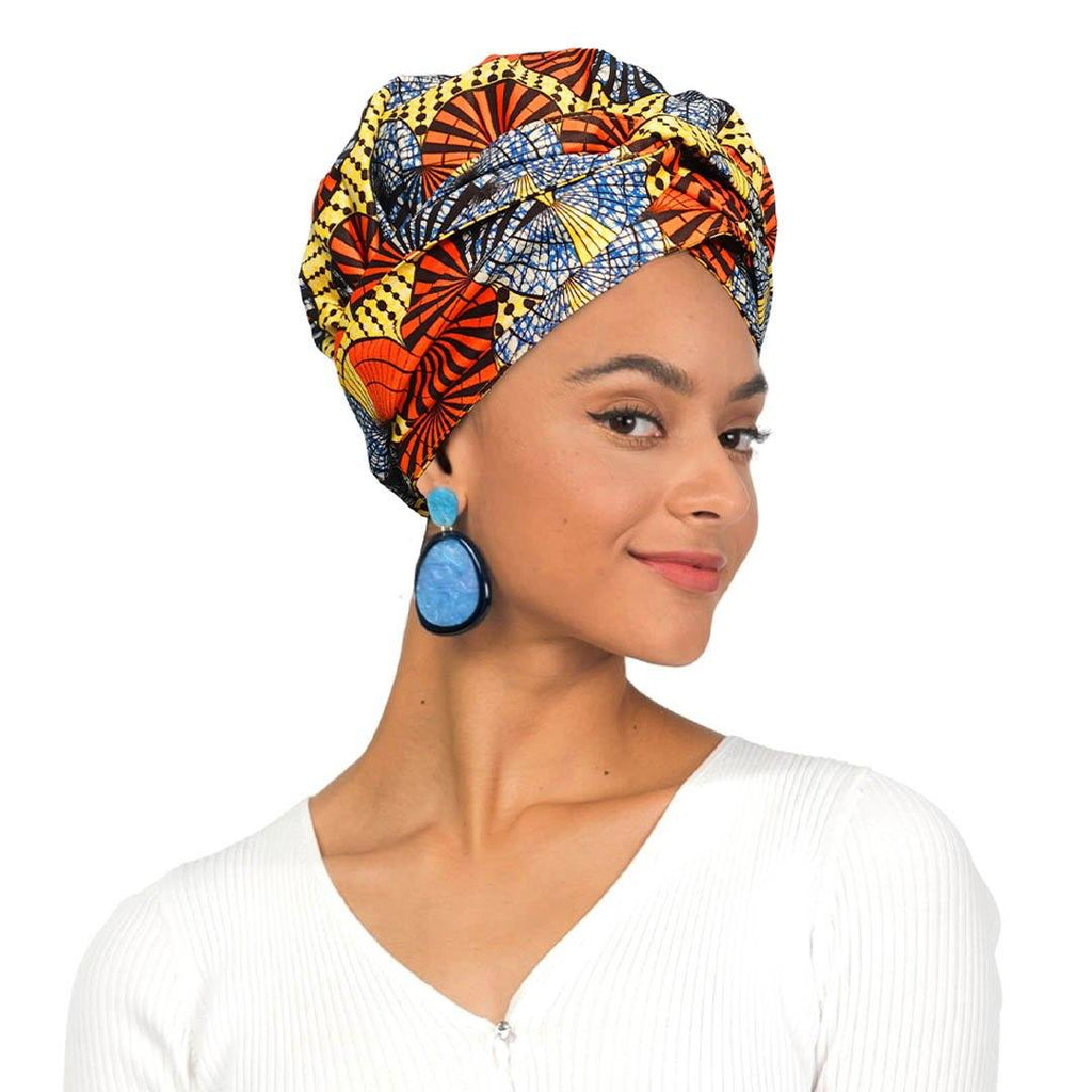 African Print Head Wrap With Satin-Lined-AW1174