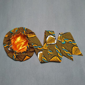 African Print Head Wrap With Satin-Lined-AW1196