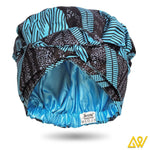 African Print Head Wrap With Satin-Lined(Estoril Blue) -AW1207