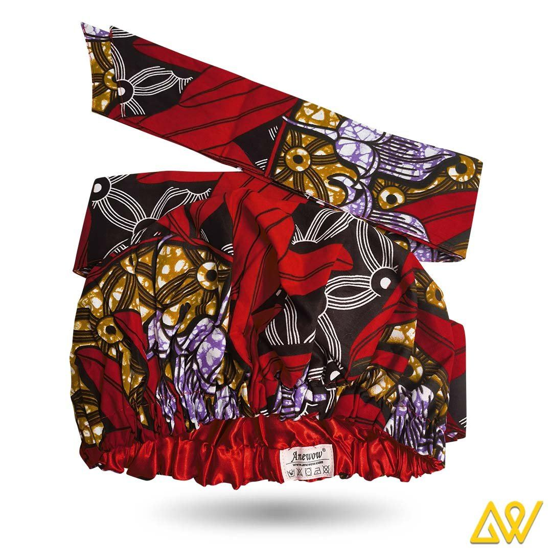 African Print Head Wrap With Satin-Lined(Opium Poppy) -AW1221