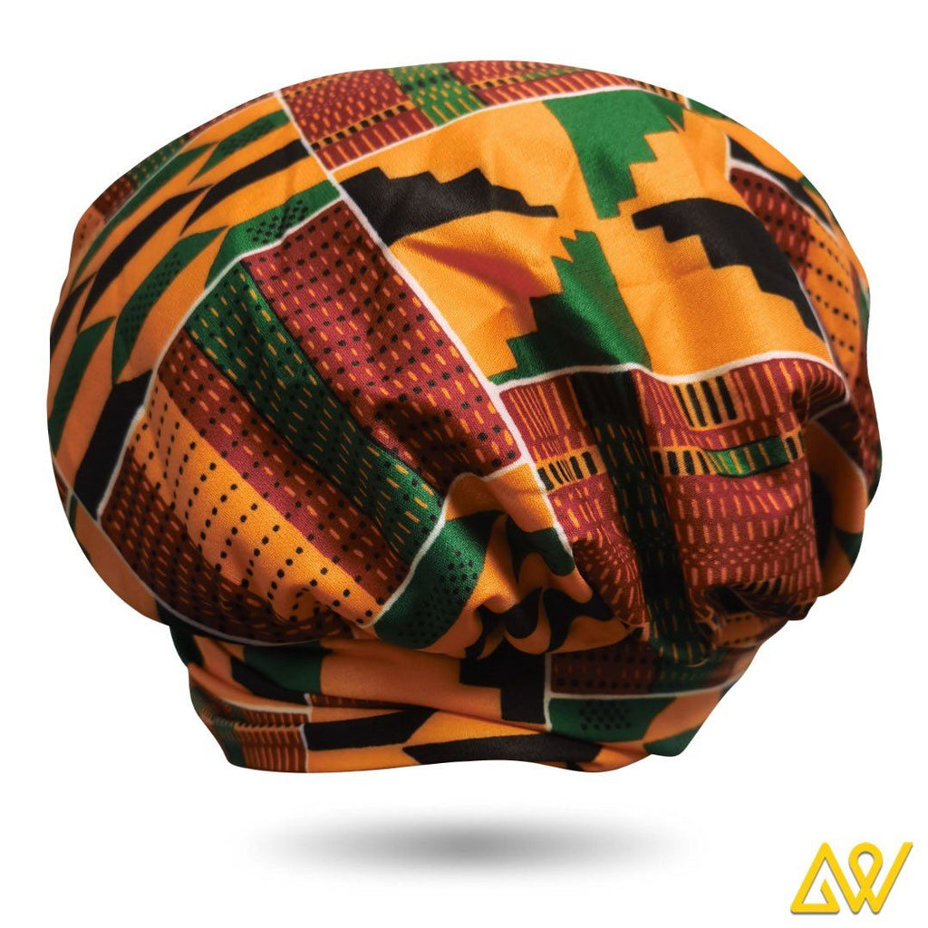 African Print Head Wrap With Satin-Lined(Yellow Green Kente)-AW1700