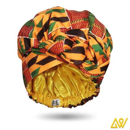 African Print Head Wrap With Satin-Lined(Kente)-AW1700